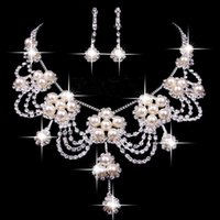 beaded wedding jewellery - 2016 Luxury Wedding Jewellery Sets Beaded Bridal Accessories Necklace Earrings Accessories Two Pieces Cheap Fashion Style Hot