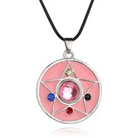 alloy animation - 2016 Sailor personality pentagram necklace pendant necklace pink jewelry animation around hot selling Jewelry ZJ