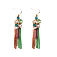 american specification - The new design specifications of a variety of color shape glass stone earrings fashion European brands flow comb earrings