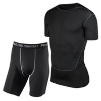 athletic mens suits - Hot Mens Athletic Pants T shirt Compression Running Sports Training Base Layers Skin Tights suit Quick Dry