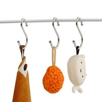 Wholesale 10 Stainless Steel S shaped Hook with Beads Desk Bags Kitchen Wall Multifunction Metal Traceless Hanger