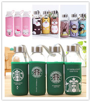 Wholesale Starbucks Water Bottle Glass Bottle Convenient Transparent Water Cup With Fabric Bag Water Glass Creative Minions Big Hero Hello Kitty Gift
