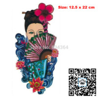 ancient chinese fans - pc AX31 Temporary Tattoo Arm Chinese Ancient Lady VS Fan waterproof Big size fake tatoo sticker art Arm Armband hand belly sticker co
