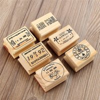 Wholesale 6pcs set Retro Vintage DIY Cute Wooden Rubber Stamp Set for Diary Scrapbooking Decoration Craft for Children Gifts Pattens
