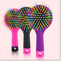 Cheap high quality hot Selling Rainbow Volume Anti-static Magic Hair Curl Straight Massage Comb Brush Styling Tools With Mirror for girl and women