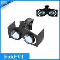 Wholesale DHL free VR Fold V1 Portable Foldable Ultralight D VR Virtual Reality Google Movie Games Glasses for Android iOS PC