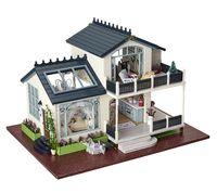 Wholesale Provence villa Large DIY Wood Doll house D Miniature Light Music box Furnitures Building model Home amp Store decoration Simple