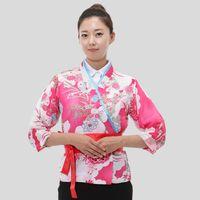 Wholesale Hot Women Japanese Korea style medium sleeve chef cook uniform chef waitress work wear restaurant cook shirt suit big flower