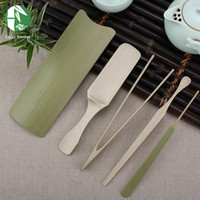 Wholesale Bamboo tea set piece set include teaspoon scoop needle Chaze tong Kungfu tea tools Chinese handmade tea drinkware