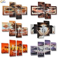 Wholesale 4pcs Living Room Picture Hand painted Modern Abstract Oil Painting On Canvas Wall Art Gift Decoration No Framed