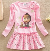 bear bows - Girl tutu princess dress children spring clothing Long sleeve Cotton dress for girls kids cartoon Masha Bear Dot dress T D297
