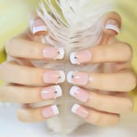 press on nails - French full cover false nails Diamond faux ongles newair natural fake nail tips press on nails salon home use nail decorations White