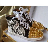 Wholesale New Designers Snake Leather Red Bottom Flat Shoes Men Women Red Sole Casual Sneakers Shoes