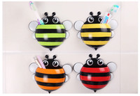 bee toothbrush holder - Cute Cartoon Bee Kids Wall Suction Cup Mount Toothbrush Holder Container Box Organizer Pocket Bathroom Stuff