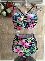 bathing suit wraps - Hot New Print Bikini Set Dress Plus Size Padded Bra Women Bikinis Print High Waist Swimsuit Swimwear chest wrapped Bathing suits XL XL