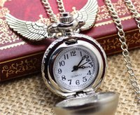 Wholesale 20pcs Harry Potter Golden Snitch Pocket Watch Steampunk Quidditch Wings Watch harry potter wings necklace movie star charm jewelry D944