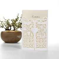 beautiful birthday card - Hot Sale White Laser Cut Wedding Invitations Folded Party Cards Personlized Print with Beautiful White Hollow Heart Flora