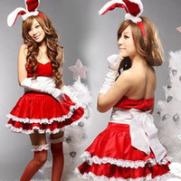 achat en gros de noël déguisements-robe jour de Noël Merry Lady cadeau femmes cosplay pour Vert Blanc Rouge Père Noël Velvet Costume Outfit Fancy Dress Xmas moment spécial ensemble