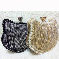 Wholesale New Women s Shiny Rhinestones Hello Kitty Clutch Sided Full Diamond tassel Evening Bag Wedding Party pearl Handbag Purse Ladies Shoulder Bag