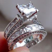 Wedding Rings bezel set princess - Victoria Wieck Luxury Jewelry Princess cut mm White Sapphire Silver Simulated Diamond Wedding Engagement Party Women Rings Size
