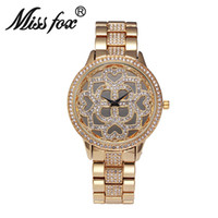 battery bracelet - Fashion Generous Women Large Dial Quartz Watch Luxury Hollow Flower Female Watch Bling Rhinestone Lady Party Dinner Bracelet Watches Online