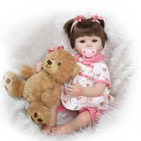 bebe china - 21 quot Lifelike Fairy Princess Reborn Toddler Doll Bebe Girl Doll Toy Birthday Christmas Gift Doll with Bear Pet