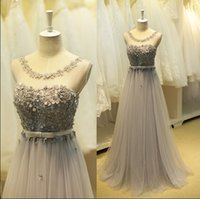 Wholesale Sexy Gorgeous Evening Dress Cheap - Real Gorgeous Silver Gray 2016 Prom Dresses With Appliques Pearls Beaded Ruched Tulle Cheap Evening Gowns In Stock For Women Formal Party