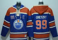 Wholesale Stitched Edmonton Eoilers Hoody McDavid Gretzky Eberle MESSIER hockey Orange Blue Jerseys Ice Jersey Hoodie Mix Order