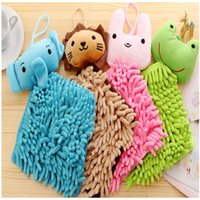 Wholesale 16 x16cm Home furnishing cute cartoon animal chenille towel hanging handkerchief in kitchen bathroom for home textile products