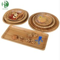 Wholesale Natural Bamboo Fruit Plates Wood Storage Trays Style Snack Candy Cake Tea Trays Eco Friendly Storage Dishes Kitchen Tableware