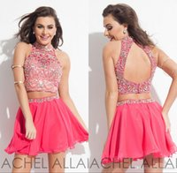 apple gems - 2016 Watermelon Two Piece Rachel Allan Homecoming Dresses Short Chiffon A Line High Collar Bling Gems and Diamonds Hollow Mini Prom Dresses