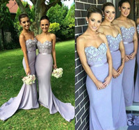Wholesale Lavender Lace Long Bridesmaid Dress Mermaid Sweetheart Appliques Beaded Maid of Honor Dress Vestido Para Madrinha De Casamento