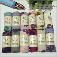 Wholesale Qiu dong season warm baby boys and girls scarves fashion cartoon bear cotton and linen scarf good