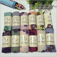 Wholesale Qiu dong season warm baby boys and girls scarves fashion cartoon bear cotton and linen scarf good