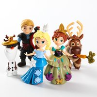 Wholesale 6 cm New Design Frozen Q Version Anna Elsa Kristoff Sven Olaf PVC Action Figure Model Collection Toy Dolls