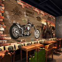 Wholesale Custom photo Silk D wallpaper for walls D club Harley restaurant hotel bar motorcycle shop wall covering bike mural wallpaper