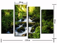 big decoration wall pictures - 4 panel Big Waterfall With Green Tree Landscape Large HD Picture Modern Home Wall Decor Canvas Print Painting For House Decoration No Frame