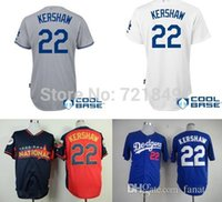anti china shirts - 2015 Fashion New LA Los Angeles Dodgers shirts Clayton Kershaw white gray blue Baseball Jersey in china