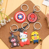 Wholesale Low MOQ Cheap Fashion Minions Captain America Lovely Cartoon Key Chain For Thanksgiving Day Gift