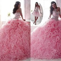 Wholesale Marvelous Detachable Quinceanera Dresses Sweetheart Neck Major Beading Top Ruffles Skirt Lace up Back in Pink Quinceanera Gowns