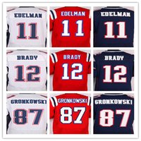 Wholesale Best quality men s jersey Elite Tom Brady Rob Gronkowski Julian Edelman jersey White Red and Blue size M XXXL