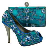 african dress patterns - Beautiful high heel CM ladies pumps with big rhinestone flower pattern african shoes match handbag set for party dress L77 sky blue