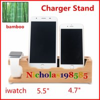 Wholesale Bamboo Charging Stand Docking Charging Dock Holder Phone Docking Cradle Watch Bracket Charger Stand for Apple Watch iPhone VS E7 Stand