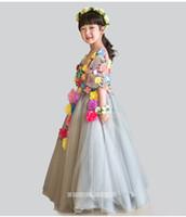 beautiful black females - Female flower girl dress long sleeve skirt beautiful faery children s princess dress skirt girl dress bitter fleabane bitter fleabane with c