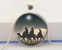 american nativity - Christmas Jewelry Three Wise Men Nativity Star of Bethlehem Art Pendant Necklace