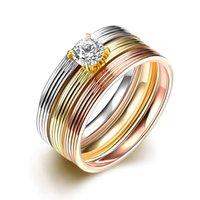 Trois en un anneau Multilayer en acier inoxydable 316L Zircon Bague de fiançailles pour les femmes 18K Rose Blanc plaqué or Stripe Bague Bijoux TGR029