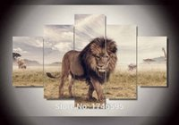 big art group - Big size abstract living room home decor Wall Art Picture printed Animals Lion group oil Painting on Canvas art print PT0225
