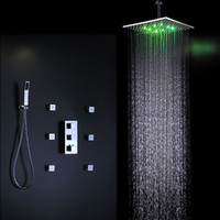 Wholesale 16 inches bathroom ceiling shower mixers concealled led shower set with massage body shower