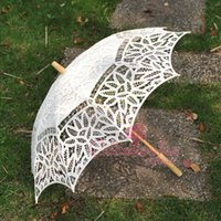 Wholesale New Ivory Lace Pure Cotton Embroidery Wedding Umbrella Bridal Parasol