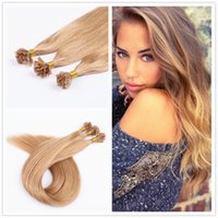 Wholesale 18 quot quot Pre Bonded Nail U Tip Keratin Glue Hair Extensions Human Natural Silky Straight Platinum Blonde g s s